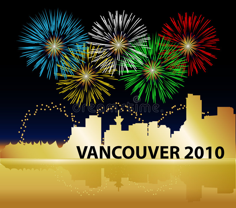 Vancouver Olympics Fireworks Stock Photo