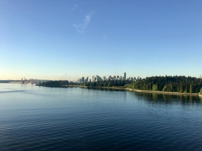 Vancouver over Stanley Park, Vancouver Brits Colombia royalty-vrije stock foto