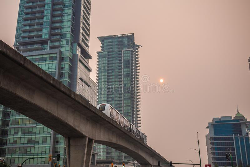 Vancouver podczas pożarów BC zdjęcie stock