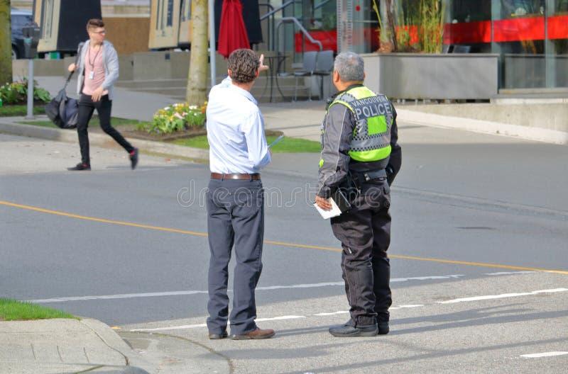 Vancouver-Polizei und Verkehrsunfall lizenzfreie stockfotografie