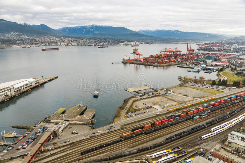 Vancouver Port from high viewpoint stock images
