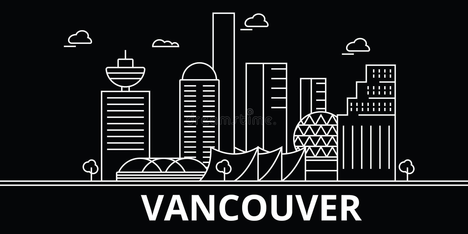 Vancouver silhouette skyline. Canada - Vancouver vector city, canadian linear architecture, buildings. Vancouver travel vector illustration