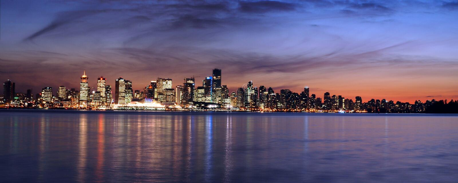 Download Vancouver Sky Line At Night Panorama Stock Image - Image: 8609319