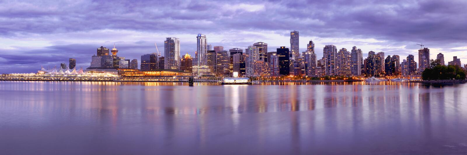 Vancouver Skyline Canada. Long exposure panorama of the Vancouver skyline shot from Stanley Park