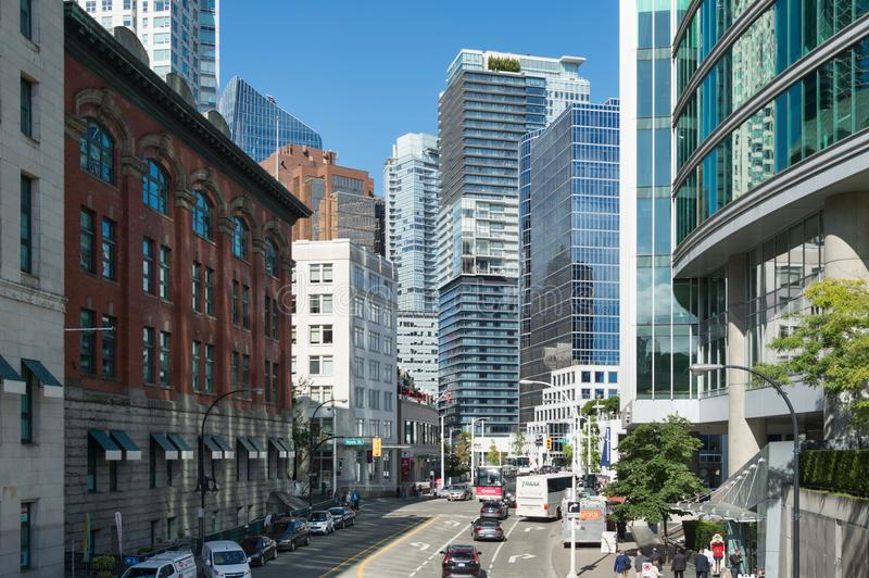 Vancouver Skyline from Cordova Street. Vancouver, British Columbia, Canada - 13 September 2017: Vancouver Skyline from Cordova Street royalty free stock photos