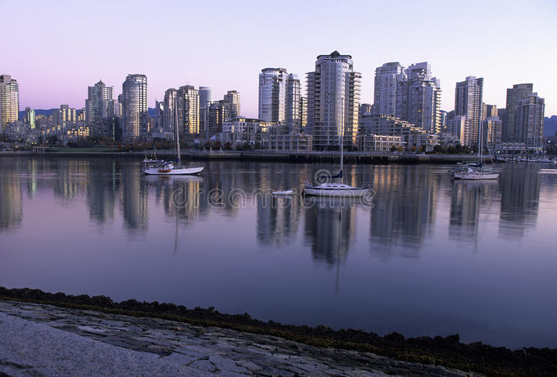 Vancouver Skyline At Dawn- Canada Stock Photo