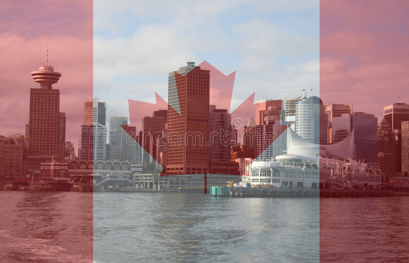 Vancouver skyline from ferry stock image