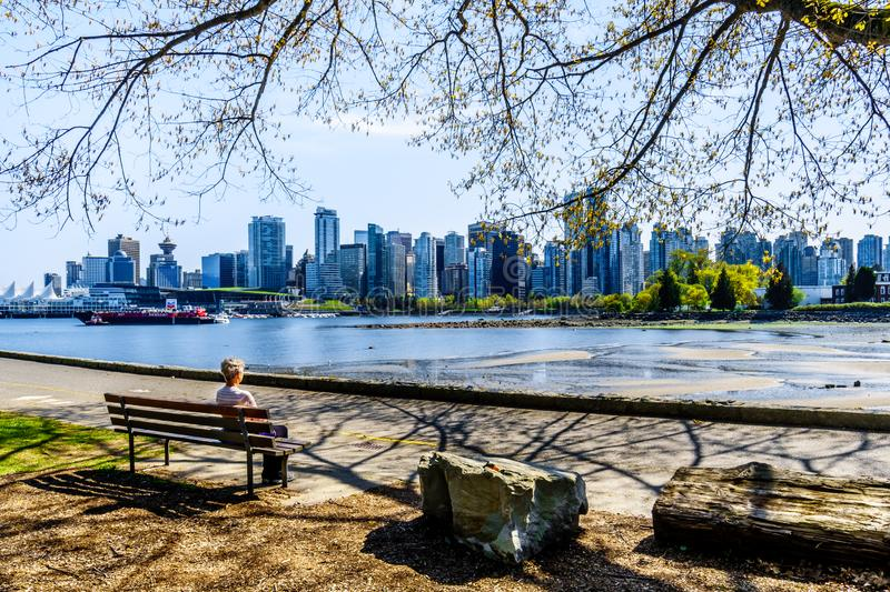 The Vancouver Skyline and Harbor in British Columbia, Canada stock photos