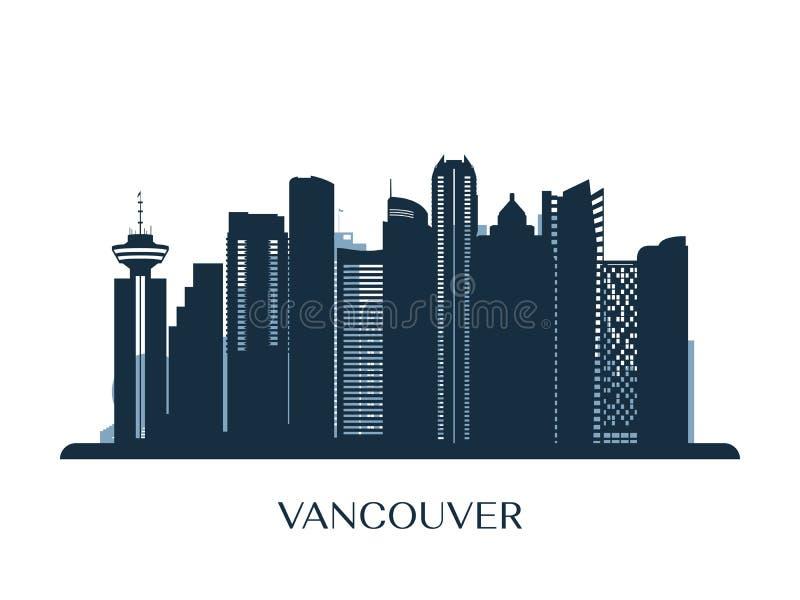 Vancouver skyline, monochrome silhouette. royalty free illustration