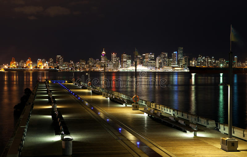 Vancouver skyline by night royalty free stock photos