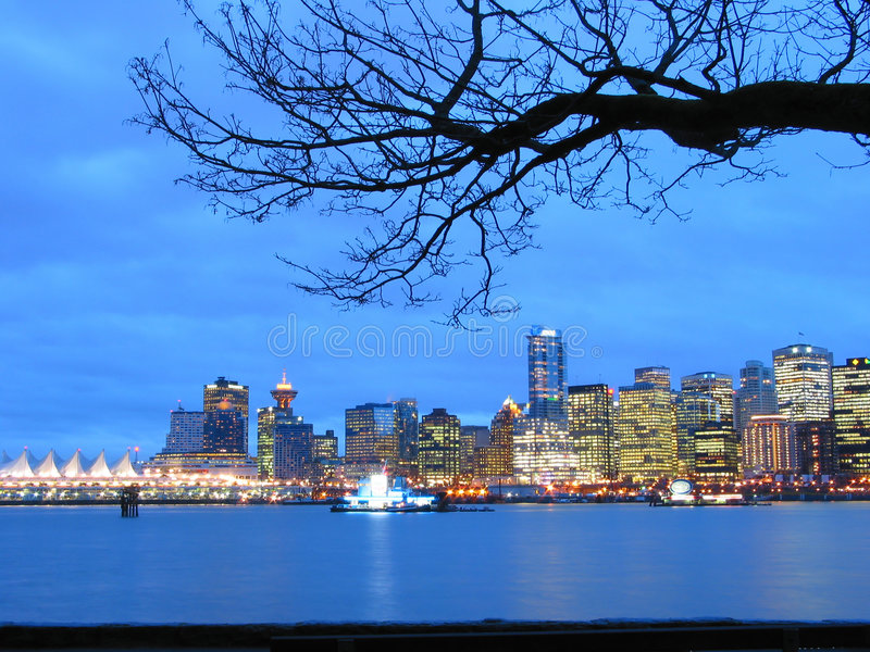 Vancouver Skyline at night royalty free stock photography