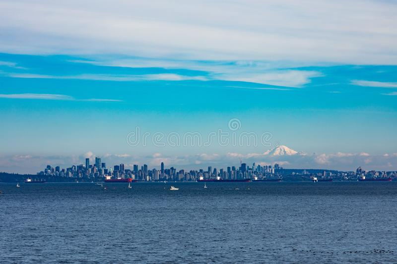 Vancouver skyline and oil tankers BC Canada stock images