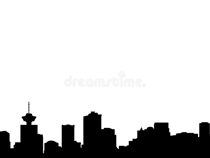 Vancouver skyline silhouette. Vector silhouette of the skyline from the canadian city of vancouver, with landmarks and notable buildings, this city will host the