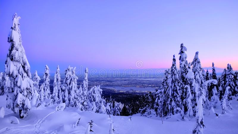 Vancouver skyline in winter from Cypress Mountain ski run. royalty free stock images