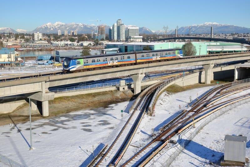 Vancouver Skytrain in de Winter stock afbeeldingen
