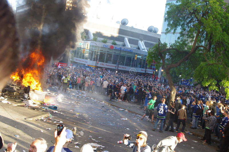 Riot in Vancouver during Stanley Cup finals stock images