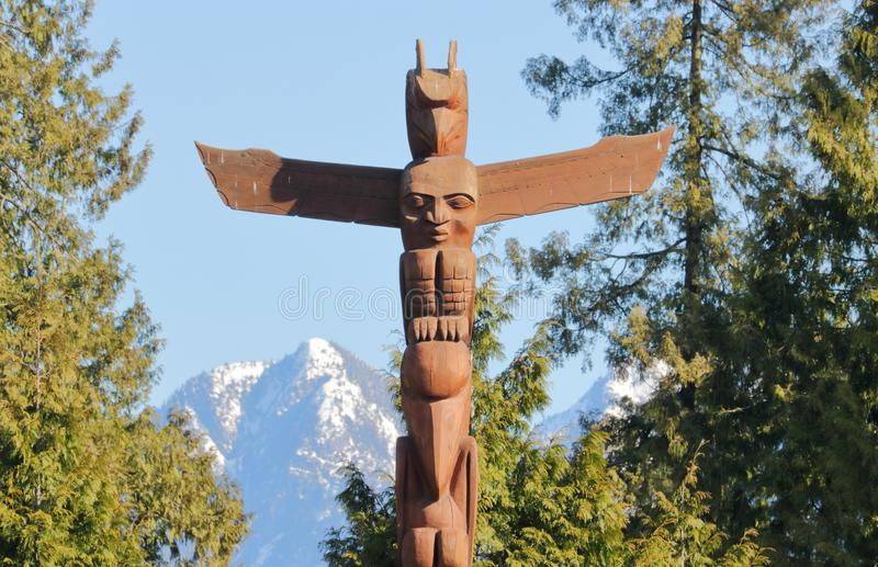 Vancouver Stanley Park Totem Pole stock afbeelding