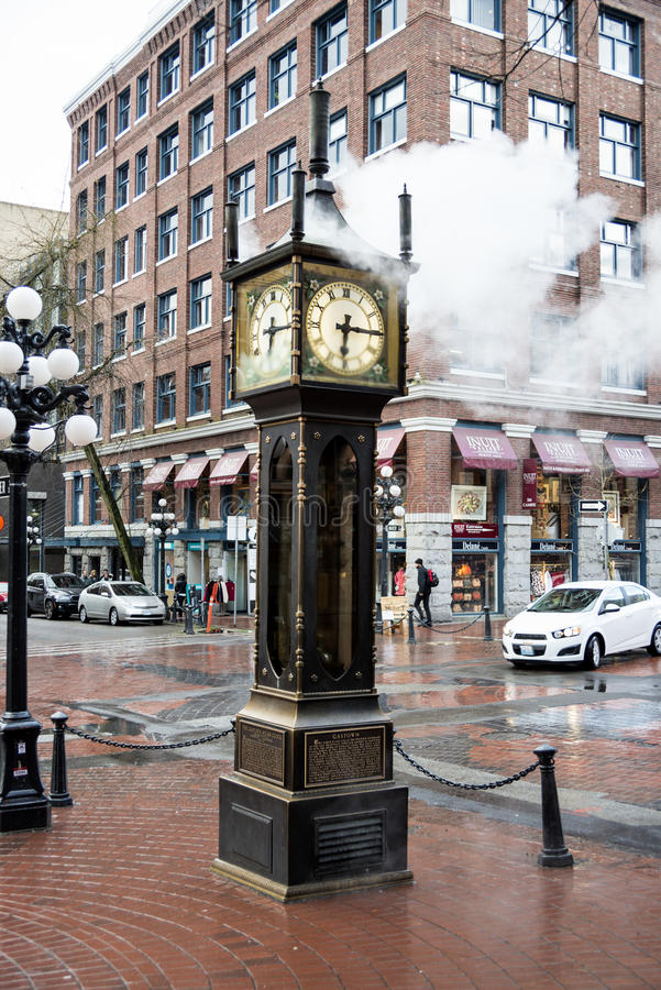 Vancouver steam clock in Gastown. Steam clock in Gastown , Vancouver British Columbia on a rainy day stock photography