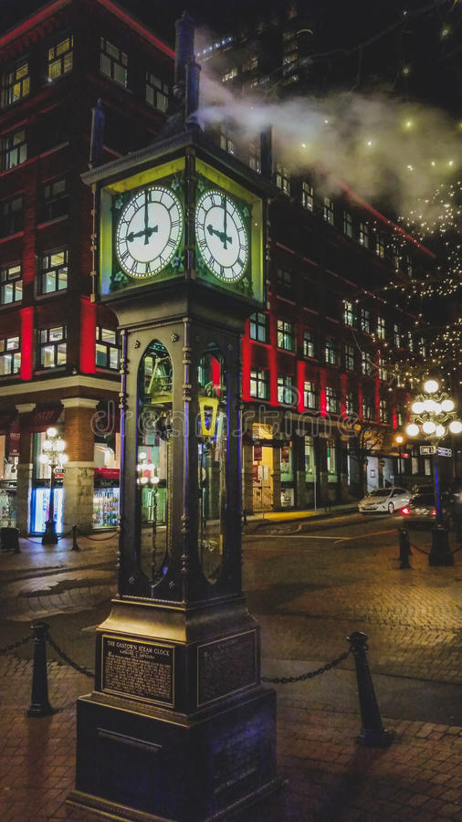 Vancouver Steam Clock. Historic steam clock in Vancouver`s Gastown at night royalty free stock photos