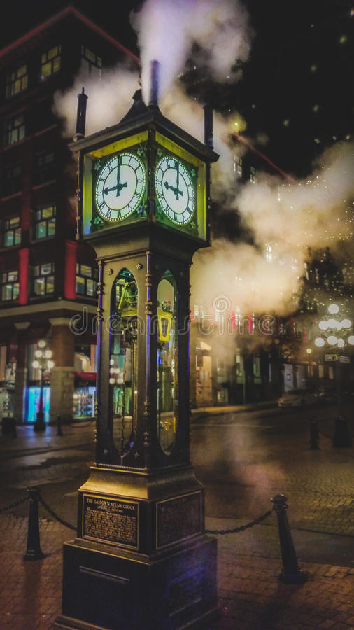 Vancouver Steam Clock. Historic steam clock in Vancouver`s Gastown at night royalty free stock images