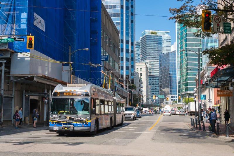 Vancouver TransLink Transit System bus on Cordova Street. Vancouver, British Columbia, Canada - 13 September 2017: Vancouver TransLink Transit System bus on stock image