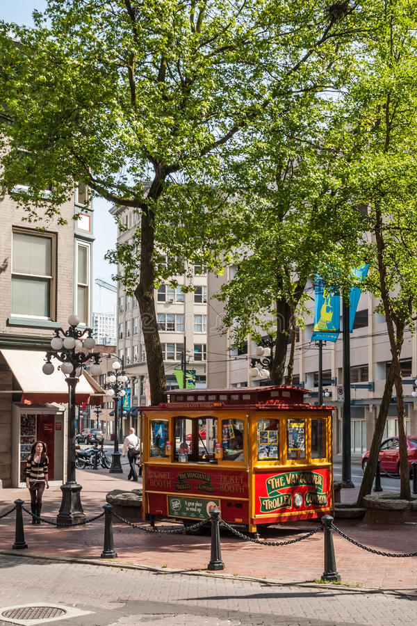 Vancouver Trolley car on display at Gastown. City square. Trolleys are replica of San Francisco-style trolleys and are available to tourists for sightseeing of stock image
