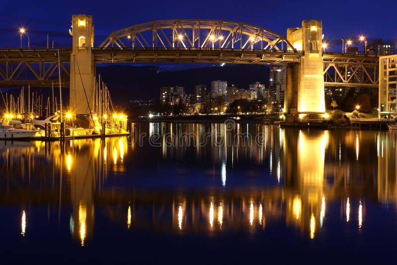 Vancouver Twilight, Burrard Street Bridge royalty free stock photography