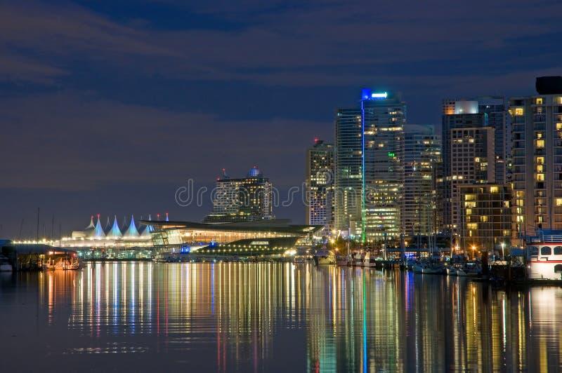 Vancouver-Ufergegend nachts stockfoto