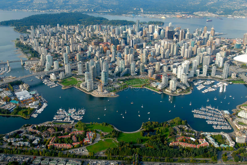 Vancouver vom Himmel stockbilder