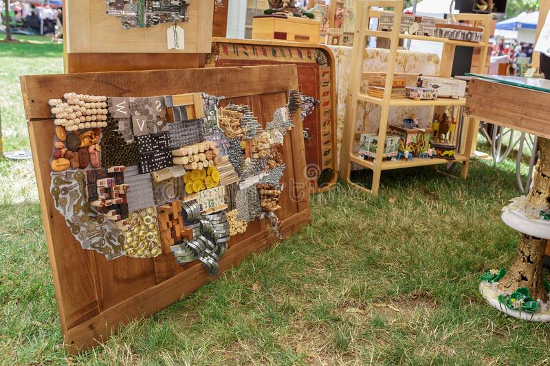 Recycled Arts Festival in Vancouver, WA, USA. Vancouver, WA, USA - June 23, 2018: Map of United States Artwork made from upcycled old goods on Recycled Arts royalty free stock image
