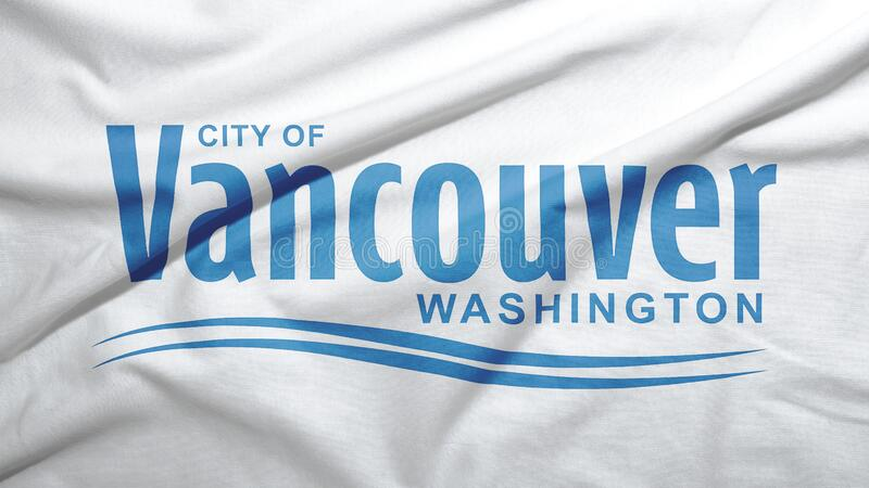 Vancouver of Washington of United States flag background. Vancouver of Washington of United States flag on the fabric texture background stock photos