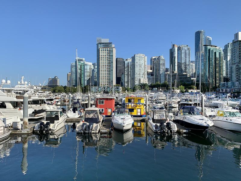 Vancouver Yachts in Coal harbour, Canada. royalty free stock images