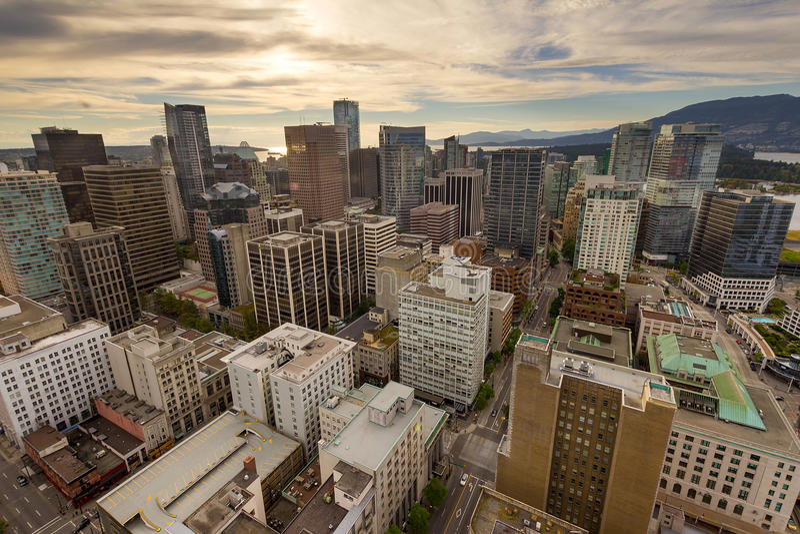 Vancouvers Stadtbild-Vogelperspektive BC in Kanada stockbilder