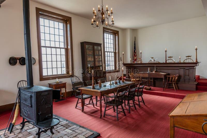 VANDALIA伊利诺伊- Vandalia州议会议场,伊利诺伊第一栋状态国会大厦内部1836-1839和家庭亚伯拉罕・林肯站点 库存图片
