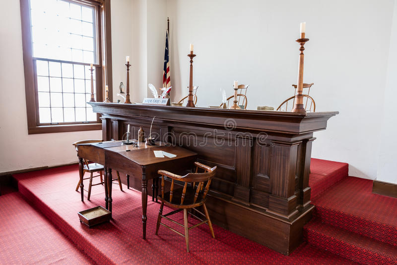 VANDALIA伊利诺伊- Vandalia州议会议场,伊利诺伊第一栋状态国会大厦内部1836-1839和家庭亚伯拉罕・林肯站点 免版税库存照片