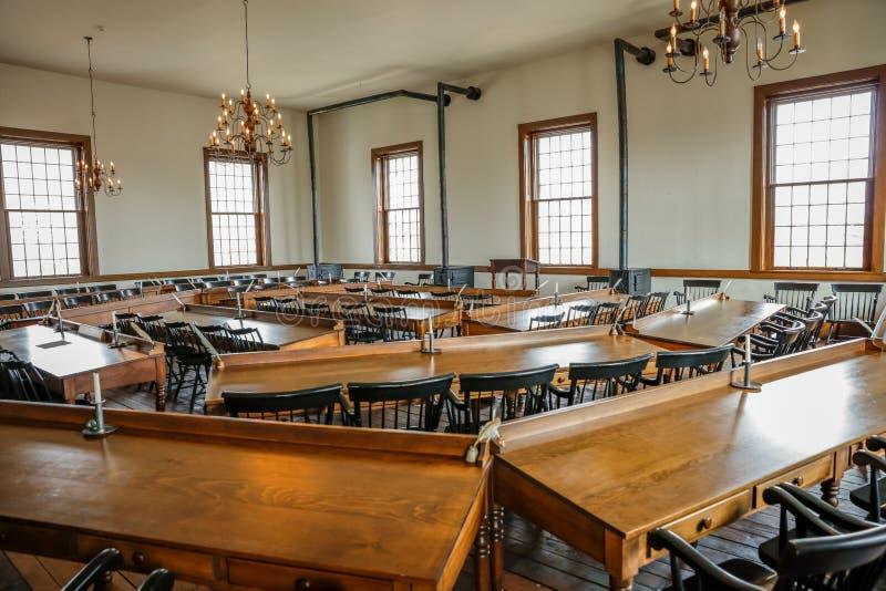 VANDALIA伊利诺伊- Vandalia州议会议场,伊利诺伊第一栋状态国会大厦内部1836-1839和家庭亚伯拉罕・林肯站点 免版税库存图片