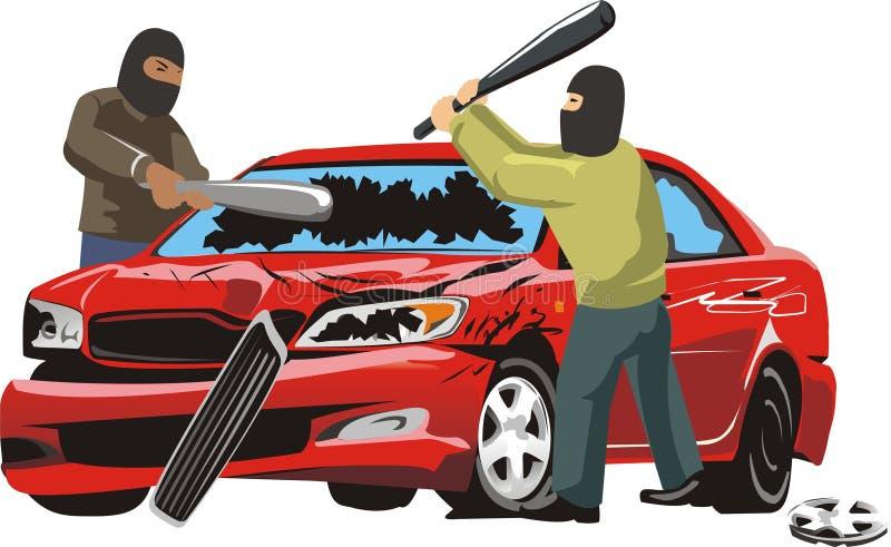 Vandalismo auto stock de ilustración