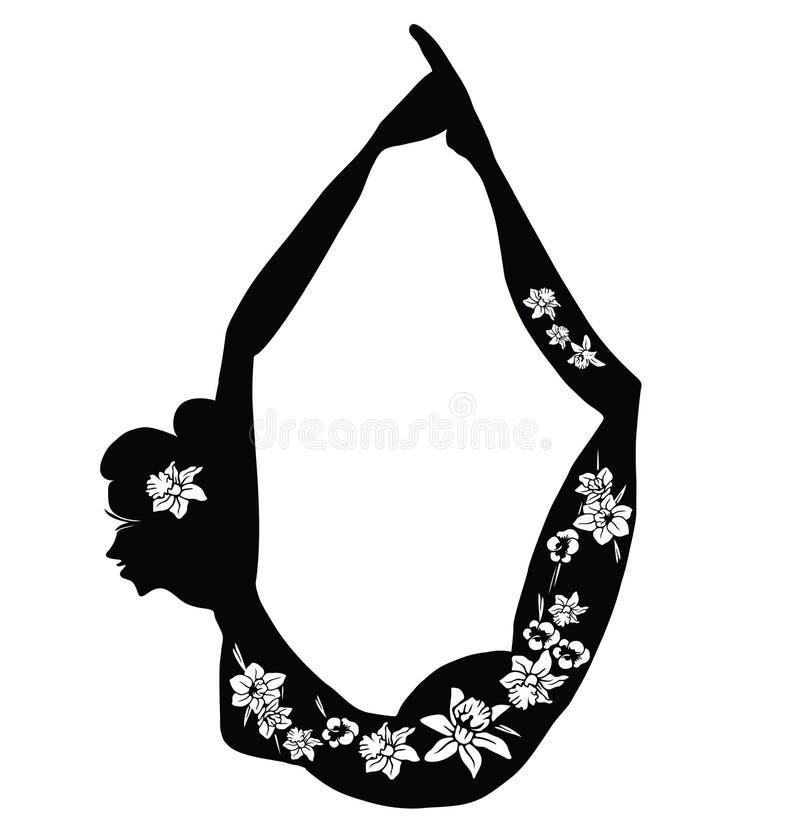?vande Yoga Illustration av en kvinna som gör konditionövning Kontur med blommasnittdesign vektor illustrationer