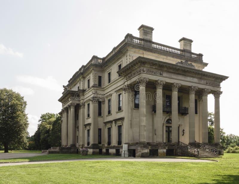 Vanderbilt Mansion. The Vanderbilt Mansion National Historic Site in Hyde Park, New York, black and white. US State Park stock photo