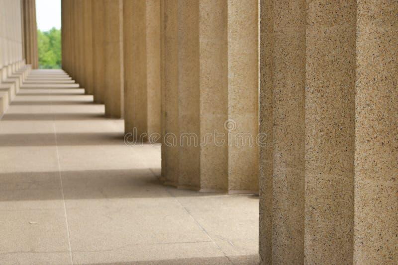 Vanderbilt University Parthenon. Looking down the pillars of the Parthenon at Vanderbilt University royalty free stock photography