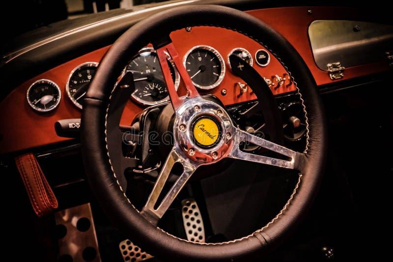 2019 Vanderhall Carmel Steering Wheel e painel 02/17/2019 fotografia de stock royalty free