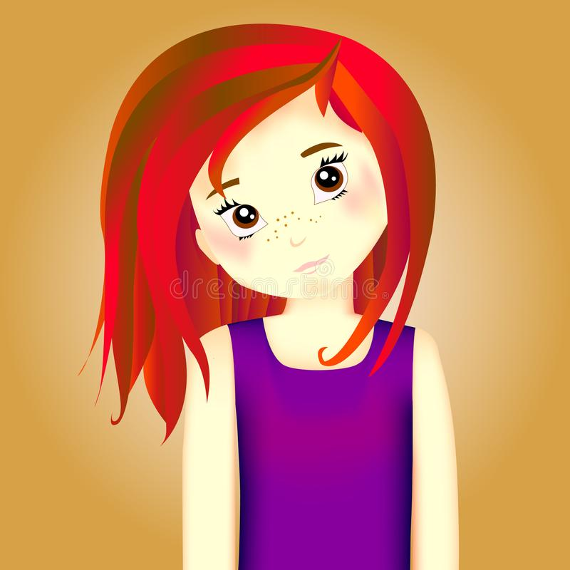vandom, la strega, ragazza con capelli rossi in canottiera sportiva porpora con la b fotografia stock libera da diritti