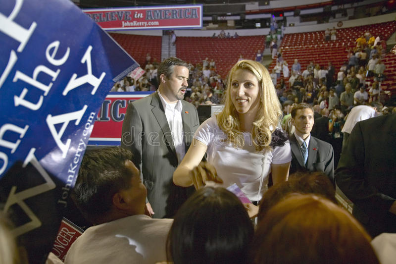 Vanessa Kerry interacts with crowd of supporters at the Thomas Mack Center at UNLV, Las Vegas, NV royalty free stock photos