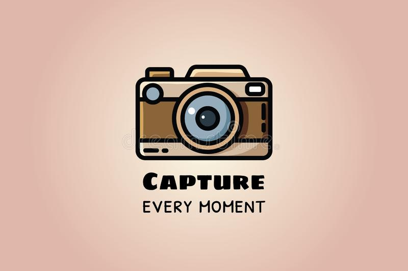 Vang elk ogenblik Uitstekende camera of retro camera, vector vlakke illustratie stock illustratie