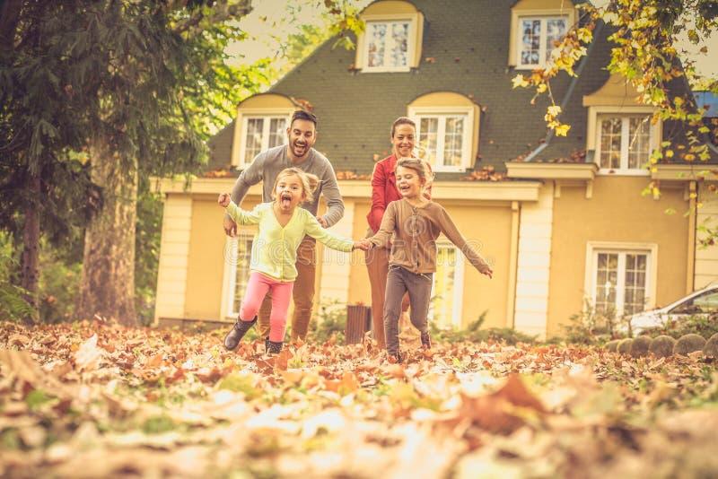 Vang me als u kunt Familieras Het seizoen van de herfst Weg in dalingsbos stock foto