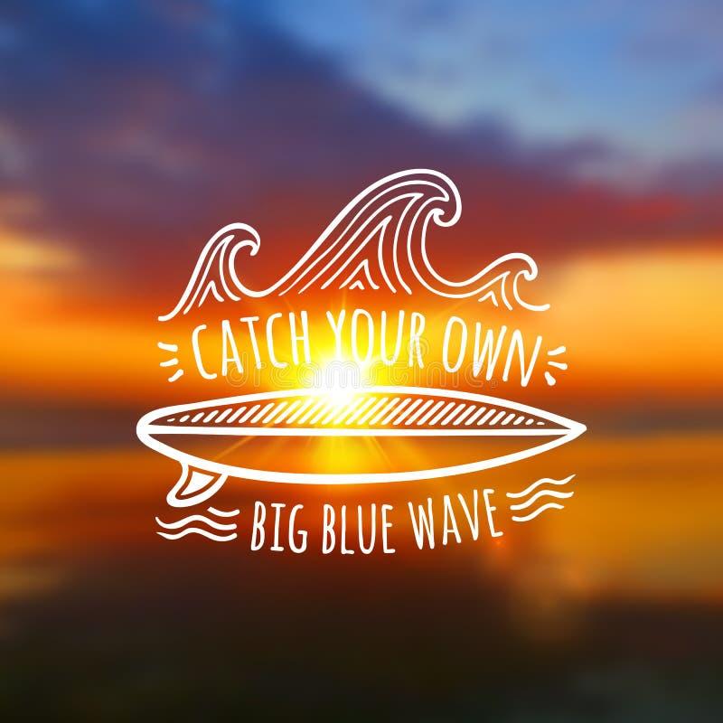 Vang uw eigen groot blauw golfembleem op vaag royalty-vrije illustratie