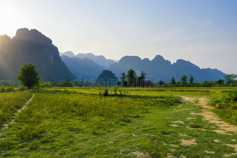 Vang Vieng Laos. Karst landscape in late afternoon, Vang Vieng, Vientiane Province, Laos stock photo