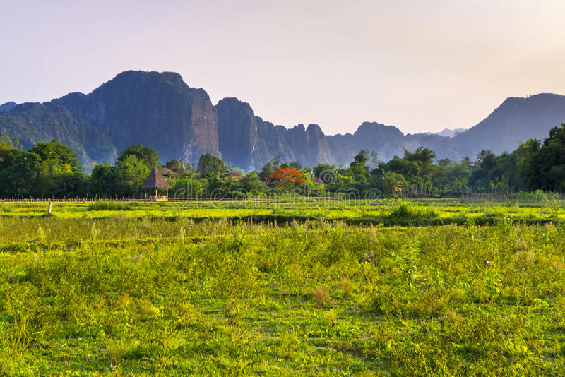 Vang Vieng Laos. Karst landscape in late afternoon, Vang Vieng, Vientiane Province, Laos stock image