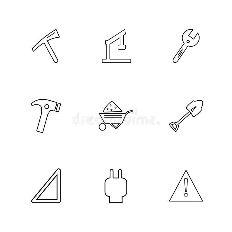 vanga, martello, carrello, cautela, hardware, strumenti, construc illustrazione di stock