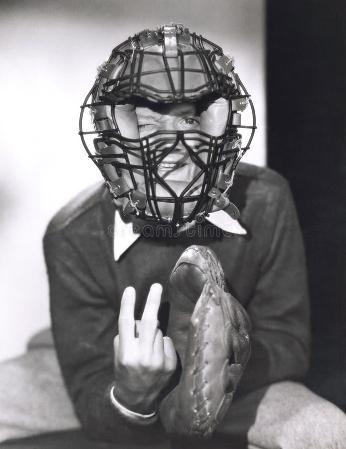 Vanger die het signaal van de krommebal geven royalty-vrije stock afbeelding